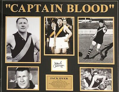 AU599 • Buy JACK DYER Signed Card Richmond Tigers Captain Blood Photo Collage FRAMED COA