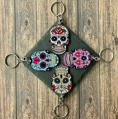 £2.89 • Buy Mexican Sugar Skull Keyring DAY OF THE DEAD Emo Gothic Halloween