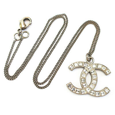 £1.64 • Buy CHANEL Silver Plated CC Logos Rhinestone Charm Necklace Pendant #7056a Rise-on