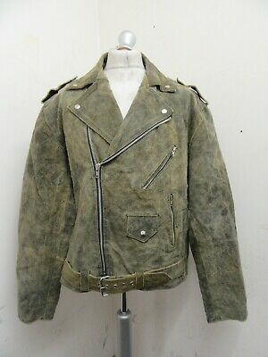 £69 • Buy VINTAGE 80's DISTRESSED LEATHER HEAVY RAW HIDE BRANDO MOTORCYCLE JACKET SIZE 2XL
