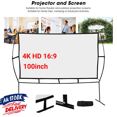 AU121.65 • Buy Projector Screen With Stand 100 Inch Indoor Outdoor Movie Projection Screen 16:9