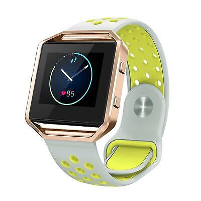 AU13.57 • Buy Silicone Band Compatible Fitbit Blaze Silver And Neon Yellow Rose Gold Frame LG