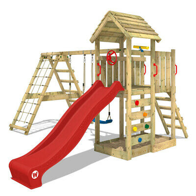 £707.94 • Buy Wooden Climbing Frame WICKEY RocketFlyer With Swing, Wooden Roof & Red Slide