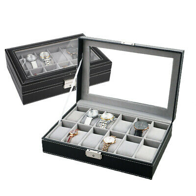 £11.09 • Buy 12 Grids Leather Watch Case Jewelry Collection Storage Holder Glass Display Box