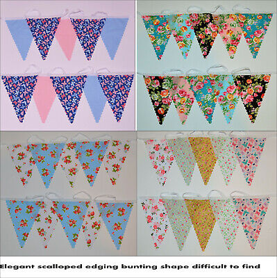 £3.25 • Buy Clearance Fabric Floral Bunting 10ft/3m Scalloped Edge Wedding Birthday Floral