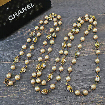 £110.93 • Buy CHANEL Gold Plated CC Rhinestone Imitation Pearl Necklace Pendant #7046a Rise-on