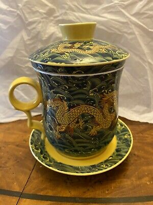 £15 • Buy Chinese Porcelain Tea Mug Cup With Lid And Infuser Strainer Yellow Dragon