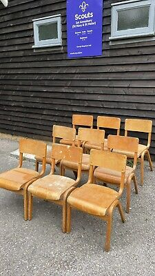 £10 • Buy 9 Vintage Wooden Stacking School Chairs - Sold Individually