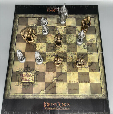 £29 • Buy Lord Of The Rings 2001 Pewter & Bronze Effect Chess Set Cheap Collectible Gift
