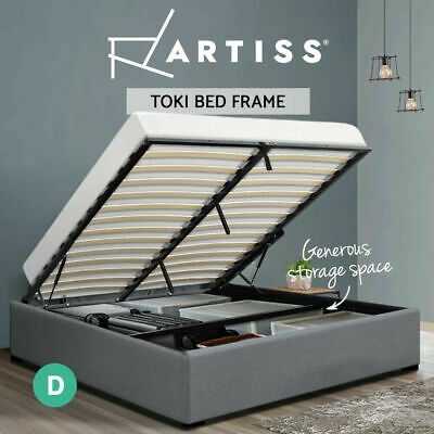 AU187.90 • Buy Artiss Bed Frame Double Size Gas Lift Mattress Base With Storage Platform Fabric