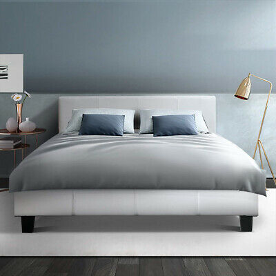 AU170.90 • Buy Artiss Bed Frame Double Size Base Mattress Platform PU Leather Wooden White NEO