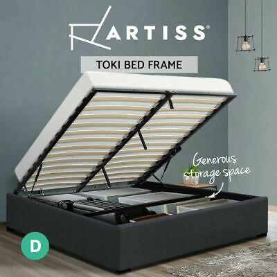 AU196.90 • Buy Artiss Bed Frame Double Size Gas Lift Mattress Base With Storage Platform Fabric