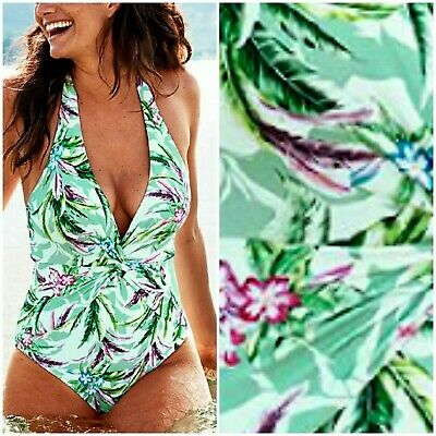 £23 • Buy Figleaves Size 10 Long Tummy Control Palm Twist Pad Halter Swimsuit @ Next £58