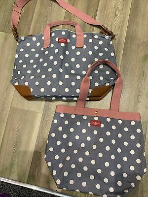 £75 • Buy Cath Kidston Spotty Top Handle Bag And Holdall Bnwot Rrp £160 Leather Detail