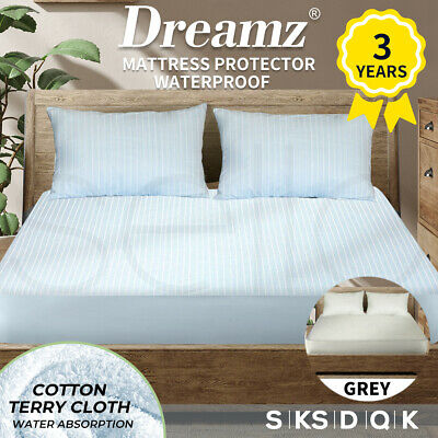 AU38.99 • Buy Dreamz Cotton Terry Towel Waterproof Mattress Protector Cover Fully Fitted