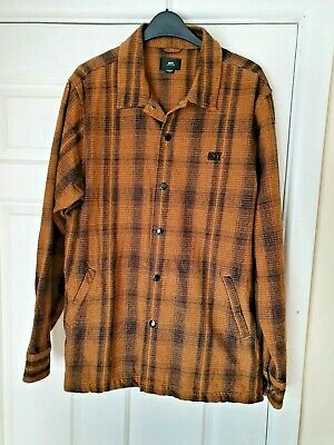 £16.80 • Buy Mens Obey Cotton Mustard Black Checked Jacket Shirt Shackett Size S 40  Chest
