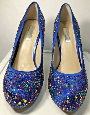£7.32 • Buy INC International Concepts Shoe Blue Multi Color Stone High Heal Size 10