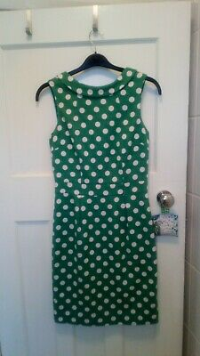 £19.50 • Buy Boden  Fitted Green Spotty Dress. Size 8.- Excellent