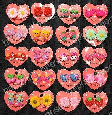 AU6.95 • Buy 5 Pairs Girls Kids Clip On Earrings Non Piercing Party Favors/Bag Fillers/Gift