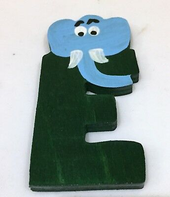 £2.30 • Buy VINTAGE Painted Wooden Alphabet Letter With Animal - E For Elephant