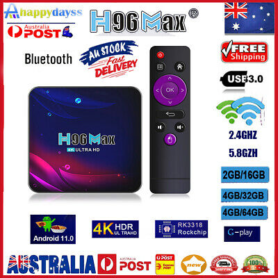 AU47.19 • Buy H96 Max V11 TV Box Android 11.0 RK3318 Bluetooth-compatible 4.0 WiFi 4K Med