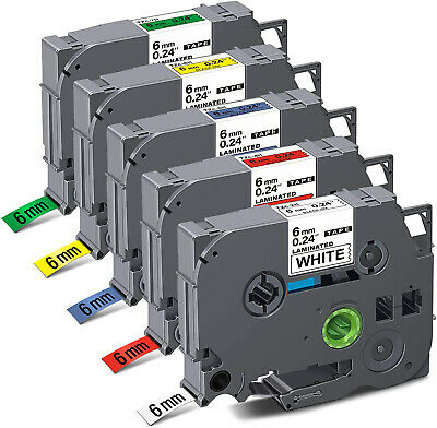 £14.59 • Buy 5PK Label Tapes Compatible For Brother TZe-211-711 6mm P-touch PT-1010 1000 1005