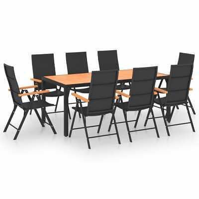 £683.17 • Buy 9 Piece Garden Dining Set Black And Brown Outdoor Furniture