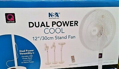 £35 • Buy NSA UK Dual Power Cool 12'' Oscillating Pedestal Stand Fan With Remote Control