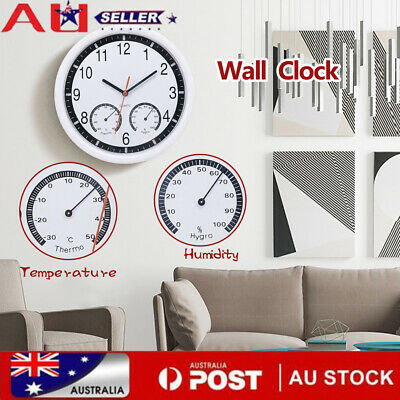 AU20.05 • Buy Round Shape Wall Hanging Clock With Temperature And Humidity Display Clock AU