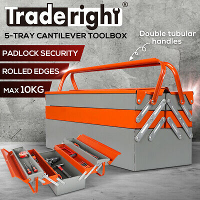 AU42.99 • Buy Cantilever Box Tool Storage 5 Tray Folding Lockable Organiser Parts Drawer Chest