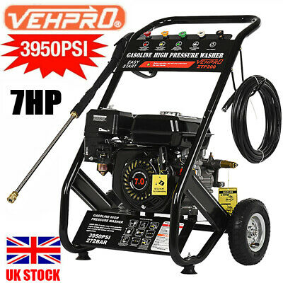£234.99 • Buy 6.5HP Petrol Pressure Washer 3950PSI /272BAR Power Jet Wash W/5 Nozzles 12M Hose