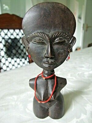 £7.50 • Buy Small African Wooden Hand Carved Female Figurine - 6 1/4 Inch Tall
