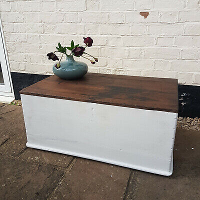 £72 • Buy Lovely Rustic Wooden Box Trunk Ottoman Coffee Table
