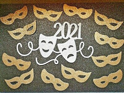 £3.50 • Buy Theatre Theme, Comedy Tragedy Masks Cake Toppers Glitter Card.  Food Safe Stick