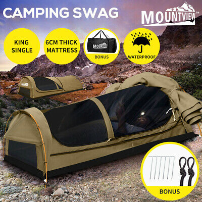 AU199.99 • Buy Mountview King Single Swag Camping Swags Canvas Dome Tent Hiking Mattress Khaki