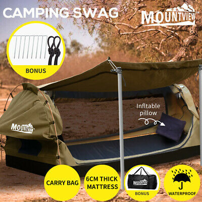 AU229.99 • Buy Mountview King Single Swag Camping Swags Canvas Dome Tent Free Standing Khaki