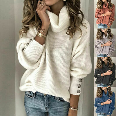 £13.99 • Buy UK Winter Plus Size Long Sleeve Cowl Neck Pullover Sweater Knit Jumper Top Lady