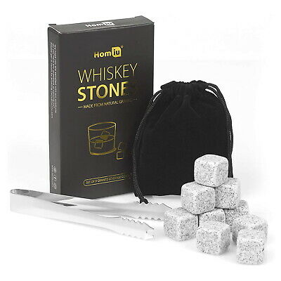 £10.99 • Buy Whiskey Stones Ice Rocks 9PC Reusable Granite Cooler Cubes Whisky Scotch Pouch