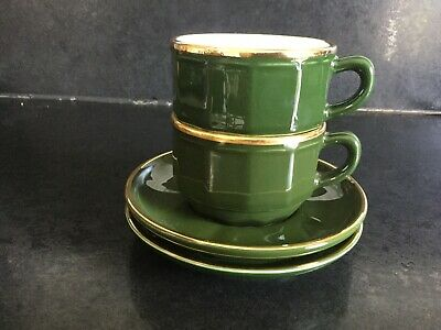 £14.99 • Buy Two French Apilco Bistro Coffee Cups And Saucers - Yves Deshoulieres