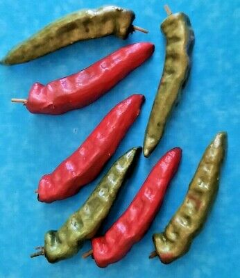 £10.96 • Buy 7 Artificial Green & Red Chili Peppers Large Size Hard Plastic Vegetables