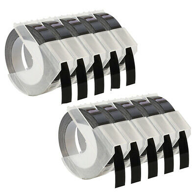 £10.17 • Buy 10 Roll Compatible For Dymo Embossing Label Tape 9mm Black For Dymo Omega Junior