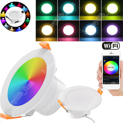 £9.99 • Buy 9W RGB LED Downlight Dimmable Round Spot Light WiFi Smart Colour Changing IP44