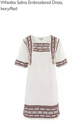 £13.99 • Buy WHISTLES  Selina Embroidered Dress, Ivory/Red, Pure COTTON Size 16. Smock 70's