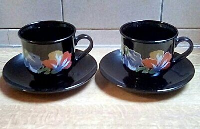 £9.80 • Buy Arcoroc Black Floral Small Cup And Saucer X 2 Vintage French