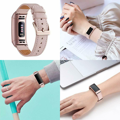 AU36.53 • Buy For Fitbit Charge 4/Charge 3/3 SE Band Genuine Leather PinkSand/RoseGold Adapter