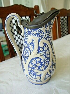 £29.99 • Buy Victorian Relief Moulded Pottery Jug With Pewter Lid, 1863