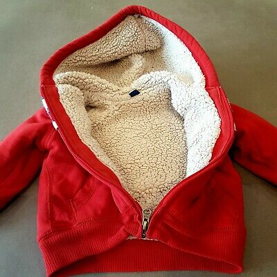 £4.50 • Buy Gap Red, Fleece Lined Zip Up Hoody, Size 18-24 Mths, Used