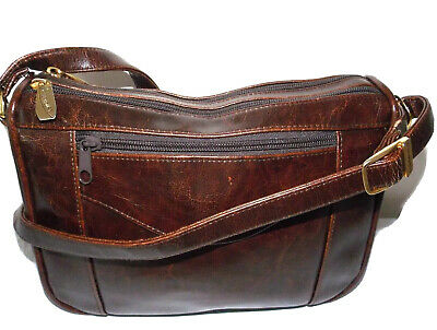 £3.99 • Buy Clubhouse By Jane Shilton Dark Brown Leather Crossbody Bag/zip Closure/casual