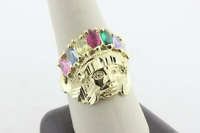 £507.29 • Buy 10K Yellow Gold Multi-Color Stone Diamond-Cut Indian Head Ring - Size 10.5