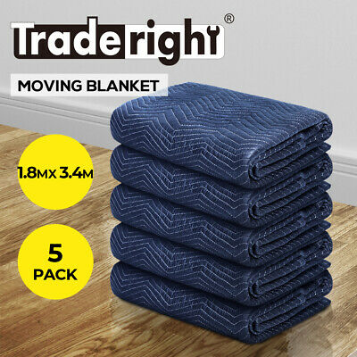 AU108.99 • Buy Moving Blanket Furniture Protection Heavy Duty Quilted Removalist 1.8MX3.4M 5PCS